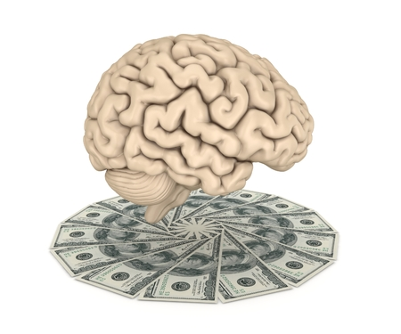 cerebra: Human brain and big stack of dollars isolated on white.