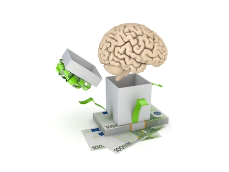 giftbox: Giftbox, human brain, big pack of euro isolated on white. Stock Photo