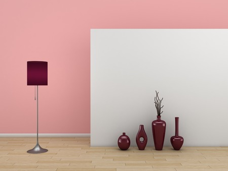 decorative wall: 3d rendered interior composition with two white doors.
