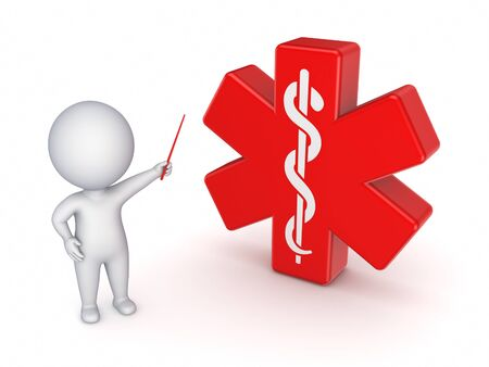 3d small person: 3d small person and red cross with symbol of caduceus. Stock Photo
