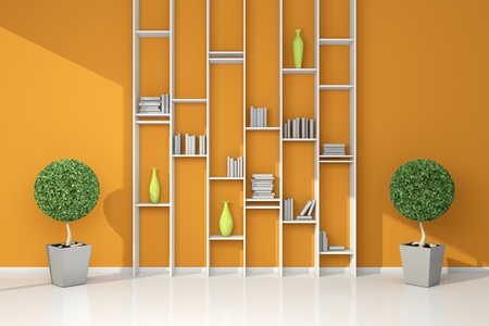3d rendered modern interior composition with simple bookshelf. Stock Photo