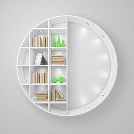 3d rendered modern interior composition with simple bookshelf. Banque d'images