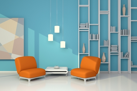 canny: 3d rendered interior composition with armchairs, simple shelf and abstract picture.