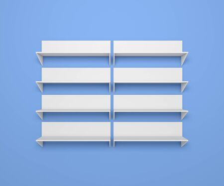 shelve: 3d rendered composition of empty modern shelves.