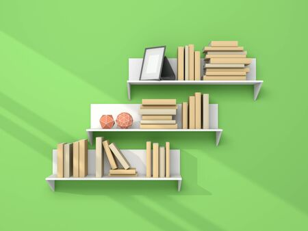 shelve: 3d rendered modern interior composition with simple bookshelf. Stock Photo