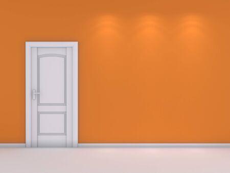 modern interior: 3d rendered modern interior composition with white door.