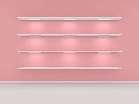shelve: 3d rendered interior composition of exhibition space.