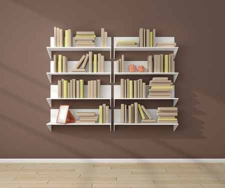 place to learn: 3d rendered bookshelves with books and decorations.