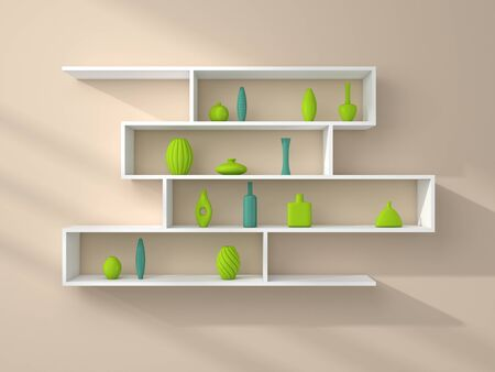 ewer: 3d rendered composition of modern shelves on a wall. Stock Photo