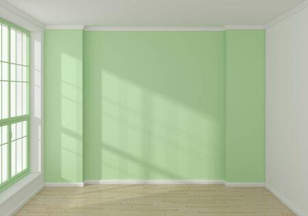 modern interior: Empty modern 3d rendered interior with a big window. Stock Photo