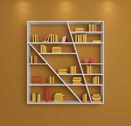 composition book: 3d rendered bookshelves with books and decorations.