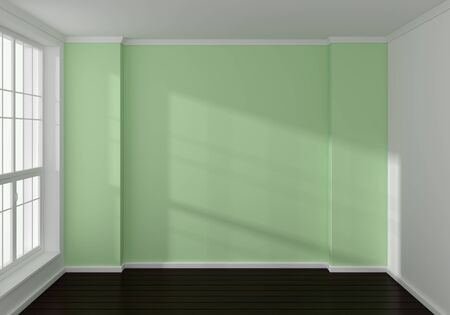 laminate: Empty modern 3d rendered interior with a big window. Stock Photo