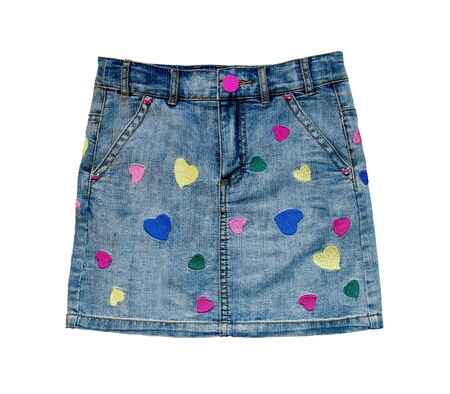 jeans skirt: Child jeans skirt close up isolated on white background.