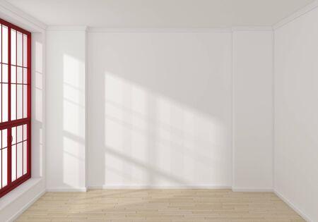 big window: Empty modern 3d rendered interior with a big window. Stock Photo