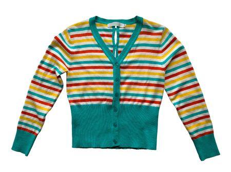 stripy: Child stripy sweater isolated on white background. Stock Photo