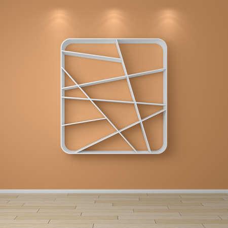 interior shelving: 3d rendered composition of empty modern shelves.