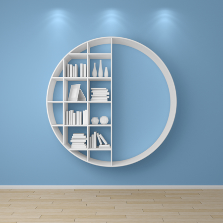 organize: 3d rendered bookshelves with books and decorations.