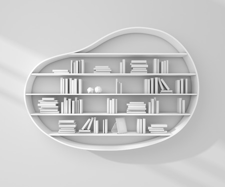 wall decoration: 3d rendered bookshelves with books and decorations.