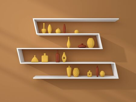 ceramics: 3d rendered bookshelves with decorative ceramics.