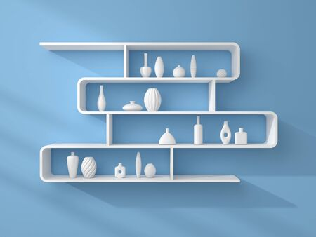 3d rendered bookshelves with decorative ceramics on a blue wall.