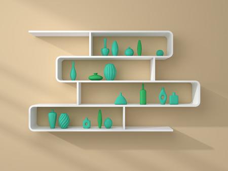 ceramics: 3d rendered bookshelves with decorative ceramics on a beige wall.