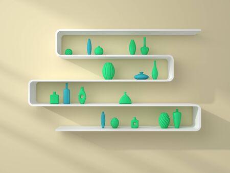 ceramics: 3d rendered bookshelves with simple decorative ceramics. Stock Photo
