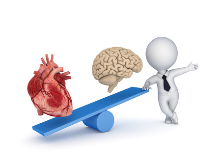 psychoanalysis: Human heart and brain on a scales.