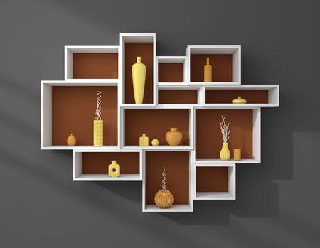 ceramics: 3d rendered bookshelves with colourful decorative ceramics.