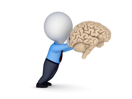 3d small person: 3d small person pushing a human brain isolated on white. Stock Photo