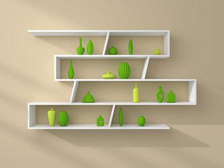 ceramics: 3d rendered illustration of bookshelves with simple decorative ceramics.