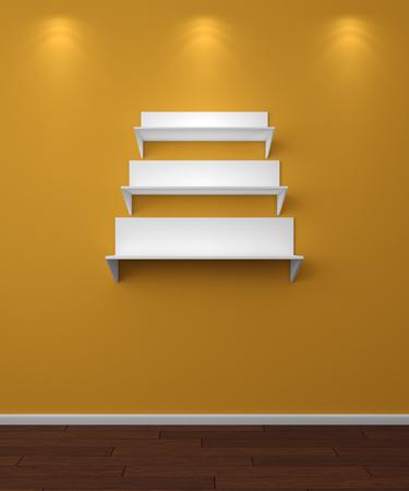 3d rendered illustration of modern empty bookshelves.