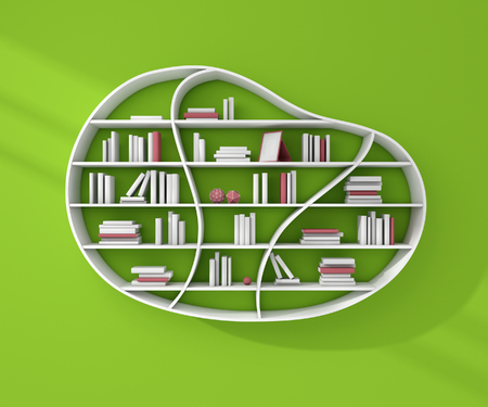 3d illustration of bookshelves with books and decorations. Stock Photo