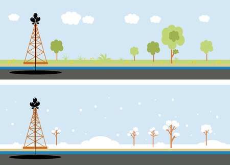 naphtha: oil rig in the winter and summer illustration