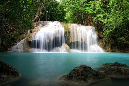 erawan: Erawan Water fall in Erawan Nation Park of Thailand ( section 2 ) Stock Photo