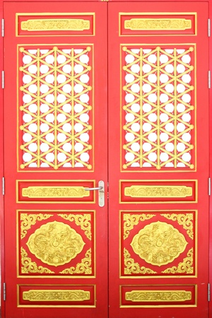 The Chinese Temple Door Stock Photo