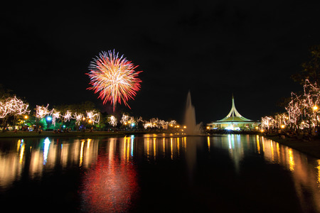blowup: Fireworks at the lake Stock Photo
