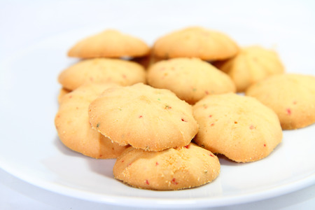 mixed fruits: Mixed Fruits cookie  isolated in white