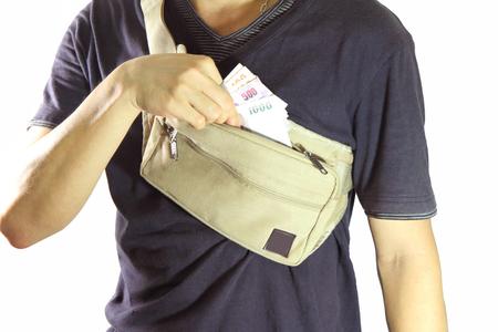 waist belt: take money from waist belt bag