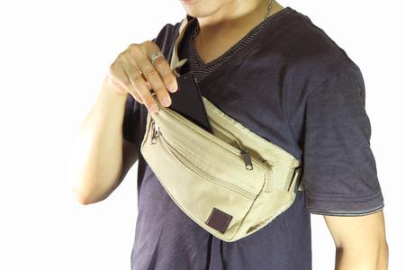 waist belt: take smart phone from waist belt bag