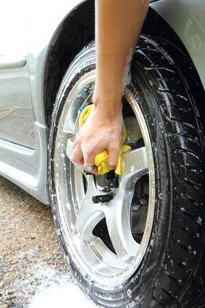 wash: wash the wheel  car wash Stock Photo
