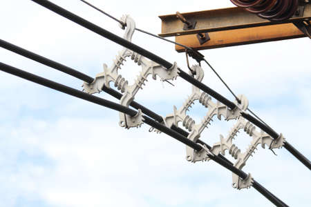 connector: High voltage connector on electrical pole Stock Photo