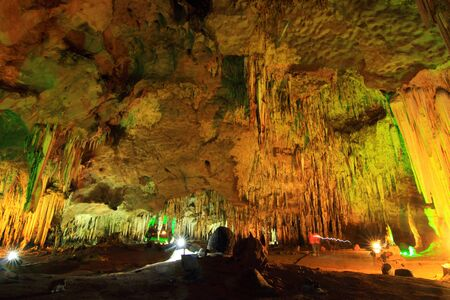 stalagmite and stalactite in the cave