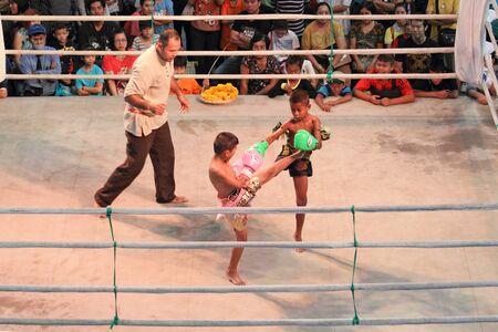 children's show: Bangkok, Thailand - November 14, 2015 : Unidentified Thai childrens original boxing show in hall of shopping mall,Bangkok, Thailand