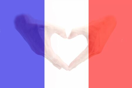 peace concept: France flag with hand shape on background