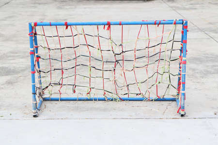 play the old park: Low cost goal of local Futsal yard Stock Photo