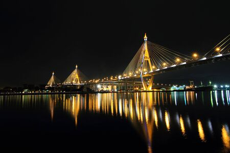 bhumibol: Bangkok, Thailand - December 5, 2015: Bhumibol Bridge in night time Editorial