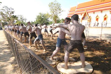 december 21: Samut Songkhram, Thailand - December 21, 2015 : Sculpture of Thai boxing in Bang Kung Temple