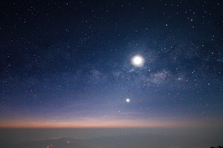 blue stars: milky way and the moon on sky
