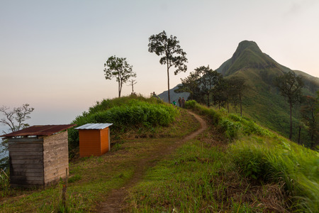 temporary: temporary toilet on the mountain in morning time