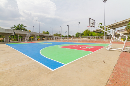 outdoor basketball court: outdoor basketball court in local school Stock Photo